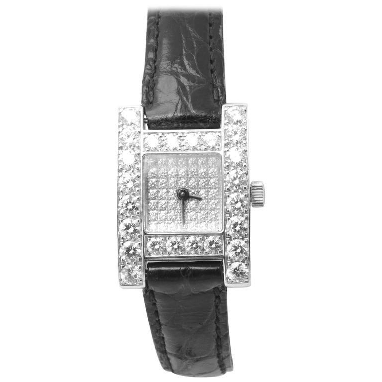 White Gold & Diamond Chopard H Ladies Wristwatch 1