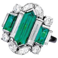 Oscar Heyman Art Deco Emerald Diamond Platinum Ring