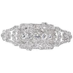 Art Deco Five Old European Diamonds Platinum Convertible Brooch Pin