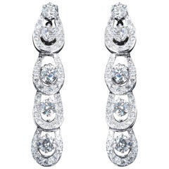 7.50 Carat Tear Drop Diamonds Platinum Dangle Earrings