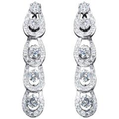 7.50 Carats Tear Drop Diamonds Platinum Dangle Earrings