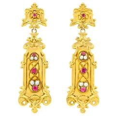 Stunning Antique Baroque Revival Dangle Earrings