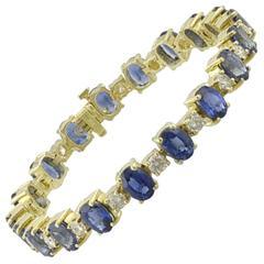 Oval Sapphire Diamond Gold Bracelet