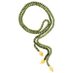 Ionescu Design Serpentine Jade Pearl Quartz Chalcedony Lariat Necklace