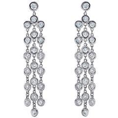 Emilio 2.86 Carat Diamonds Gold Bezel Chandelier Earrings