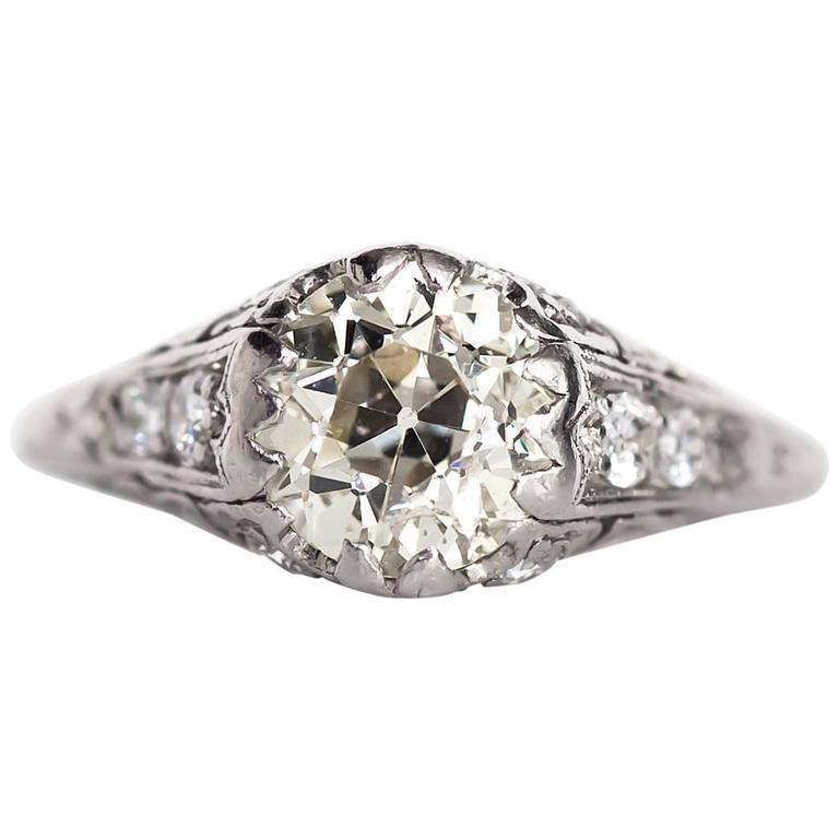 1910 Antique Edwardian 1 78 Carat Diamond Platinum Engagement Ring For Sale a