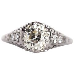 1910 Antique Edwardian 1.78 Carat Diamond Platinum Engagement Ring