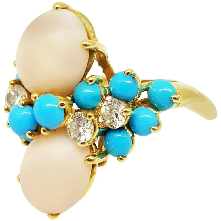 Turquoise Coral Diamond gold Ring