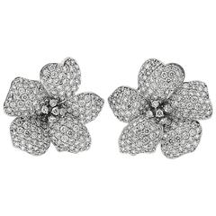 Exclusive Diamond Gold Flower Earrings