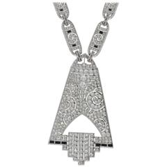 Art Deco Diamond Gold Pendant Necklace