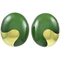 Nephrite Jade Gold Earclips