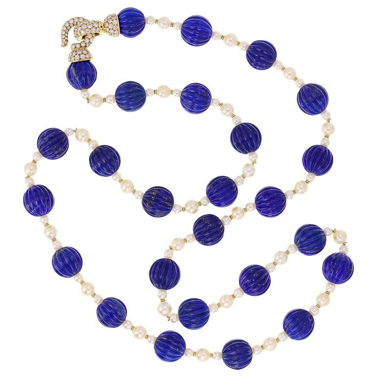 Cartier Paris Pearl Lapis Lazuli Diamond Gold Sautoir Necklace For Sale
