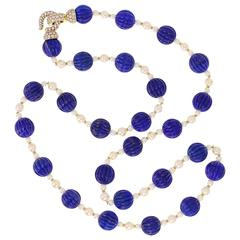 Cartier Paris Pearl Lapis Lazuli Diamond Gold Sautoir Necklace