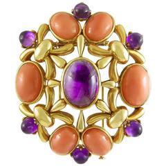 1970s Cartier Paris Coral Amethyst Gold Brooch