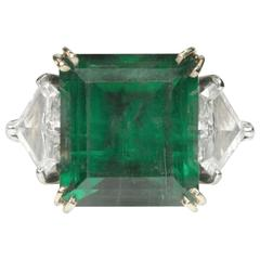 10.03 Carat Emerald Triangle Diamond Platinum Ring