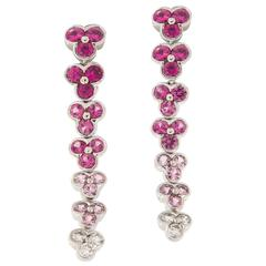 Jean Vitau Sapphire Diamond Gold Wisteria Earrings
