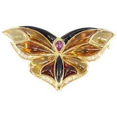 Bulgari Ruby Onyx Citrine Diamond Gold Butterfly Brooch