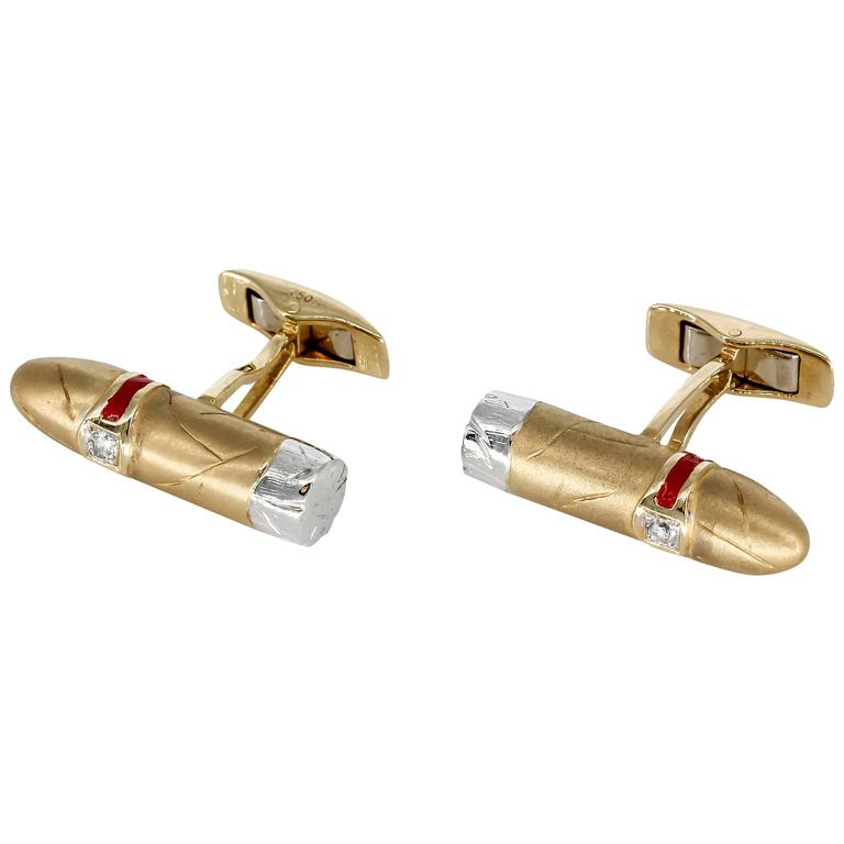 Cigar Shaped Enamel Diamond Gold Cufflinks 1