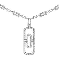 Bulgari Parentesi Full Diamond Pave Gold Pendant Necklace