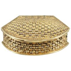Italian Basket Weave Two Color Gold Pill Box