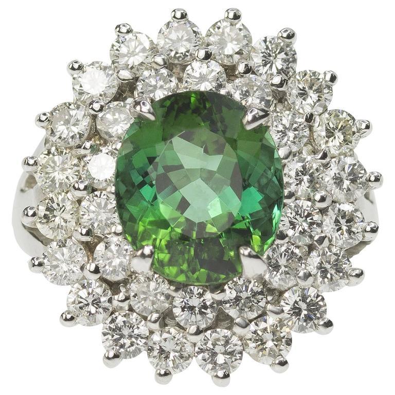 Double diamond Halo Tourmaline gold Ring