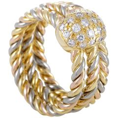Cartier Trinity Diamond White Yellow and Rose Gold Band Ring