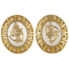 Ilias Lalaounis Frosted Glass Diamond Gold Clip-On Earrings