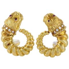 Ilias Lalaounis Diamond and Ruby Gold Lion Clip on Earrings