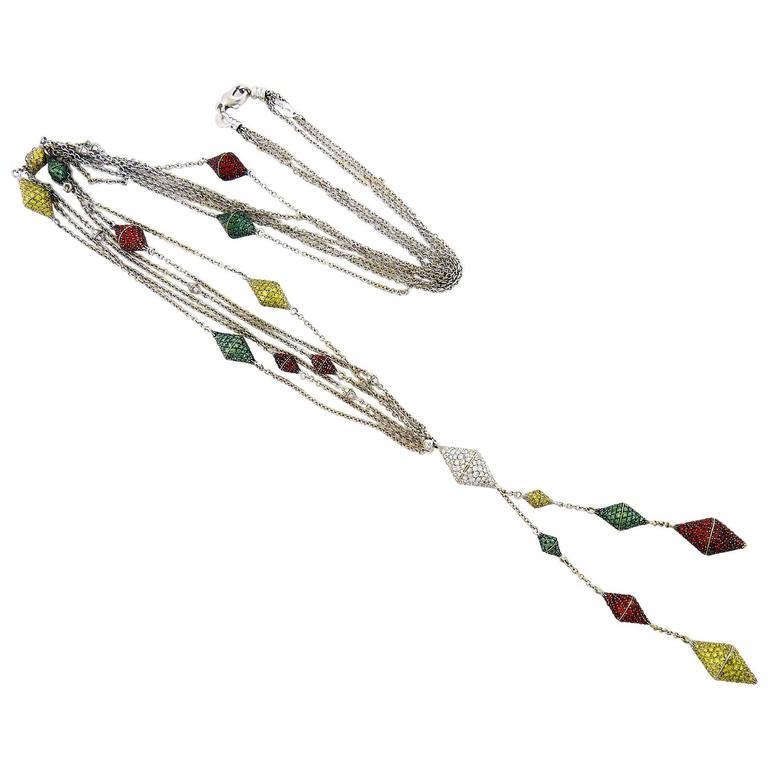 Palmiero Yellow Green White Diamond and Tsavorite 18K Gold Long Hanging Necklace
