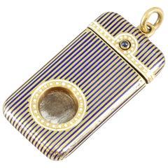 Boucheron Paris Enamel Sapphire Gold Cigar Cutter