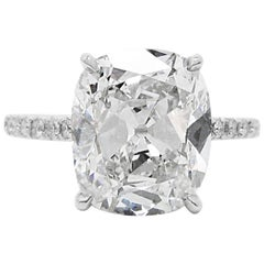 4.15 Carat GIA F VVS2 Certified Antique Cushion Cut Diamond Engagement Ring