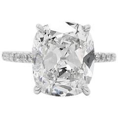 4.15 Carat GIA Cert Cushion Cut Diamond  Engagement Ring