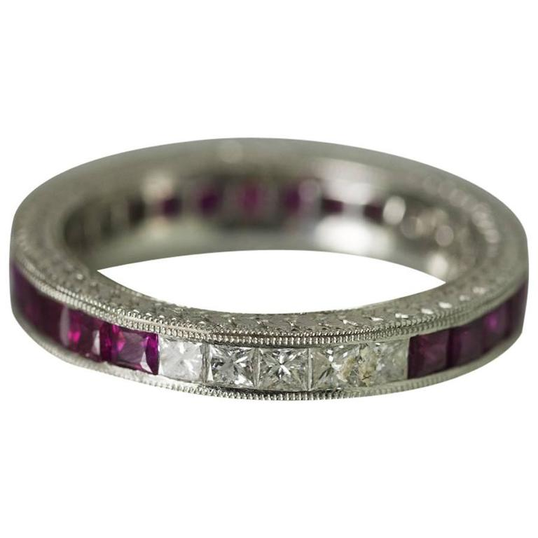 ruby platinum engraved eternity band ring at 1stdibs