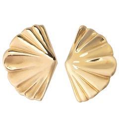 Tiffany & Co. Gold Fan Motif Earrings