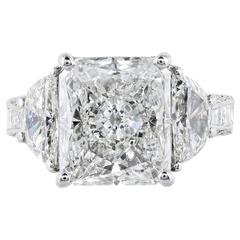 GIA Certified 5.07 Carat I/VS2 Radiant Cut Diamond Platinum Engagement Ring