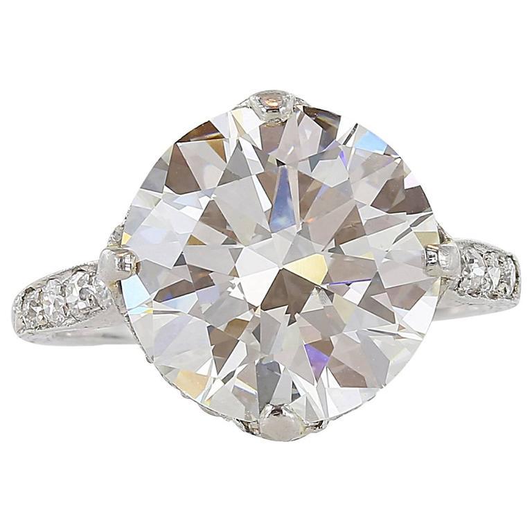 Edwardian Style  5.96 Carat Round Brilliant Cut  GIA J VS2 Engagement Ring