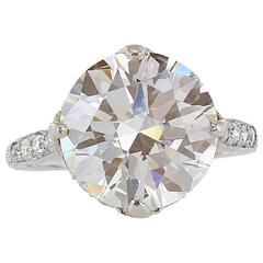 Edwardian Style  5.96 Carat Round Brilliant Cut  GIA J VS2 Engagement Ring