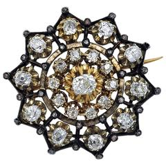 Antique Victorian Diamond Gold and Siver Brooch