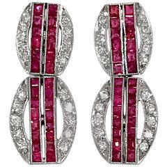 Exclusive Mindi Mond 2 Carat Diamond platinum Ruby Earrings