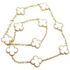 Van Cleef & Arpels Vintage Alhambra Mother Of Pearl 10 Motif Gold Necklace