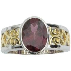 3.3 Carat Rubellite Tourmaline Bi-Color Gold Statement Ring Estate Fine Jewelry