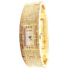Hermes Ladies Yellow Gold Diamond Kilim H Bracelet Wristwatch