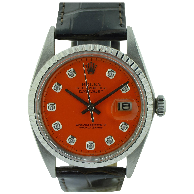Rolex Stainless Steel Datejust Orange Diamond Dial Watch, 1970's