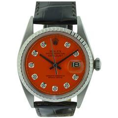 Rolex Watch Company Stainless Steel Datejust Orange Diamond Dial Wristwatch