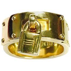 Hermes Gold Kelly Padlock Ring
