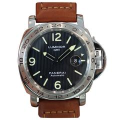 Panerai Stainless Steel Luminor GMT Tuxedo Dial PAM 29 Automatic Wristwatch