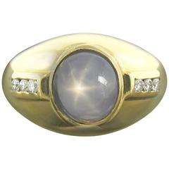 Cayen Collection Star Sapphire and Diamond Gold Ring