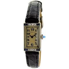 Tiffany & Co. Ladies yellow Gold Diamond Sapphire Art Deco Manual Wristwatch