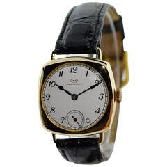 I.W.C. Schaffhausen Yellow Gold Cushion Shape Wristwatch