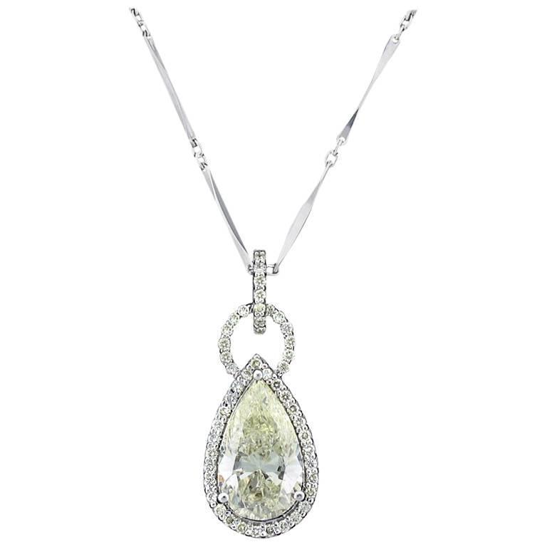 3.09 carat Pear Shaped Diamond Gold Pendant